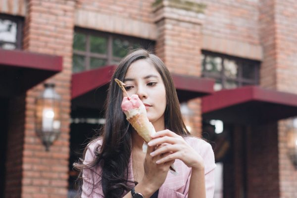 Young woman contemplating calories